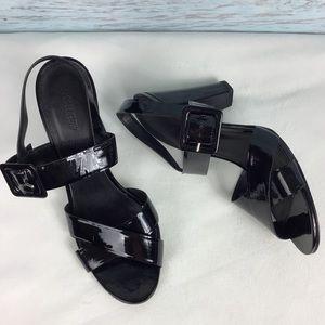J. Crew Black Patent Strap Block Heels